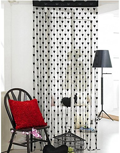 PriMI tolle Tür Fenster Decor Windfang Wand Panel String Herz Form Garn Vorhang (schwarz)