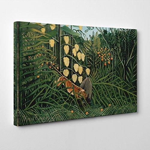 BIG Arty Pie Henri Rousseau in A Tropical Forest Canvas Print, Multi-Colour, 24 x 16-Inch/60 x 40 cm (Print Giclee Tropical Print)