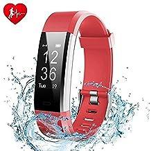 Pulsera Actividad, Showyoo Reloj Inteligente con Monitor de Ritmo Cardíaco, GPS para Corer Podómetro IP67 Impermeable Reloj de Actividad Smartwatch Monitor de Sueño Pulsera de Contador de Pasos Reloj de Fitness con Contador de Calorías para Android Smartphones y iPhone, Rojo