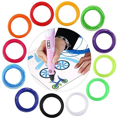 OBEST 3D Pen Filament 12 Farben 60 Meter Gesamt Refill Filament Pack 1.75mm (PLA)