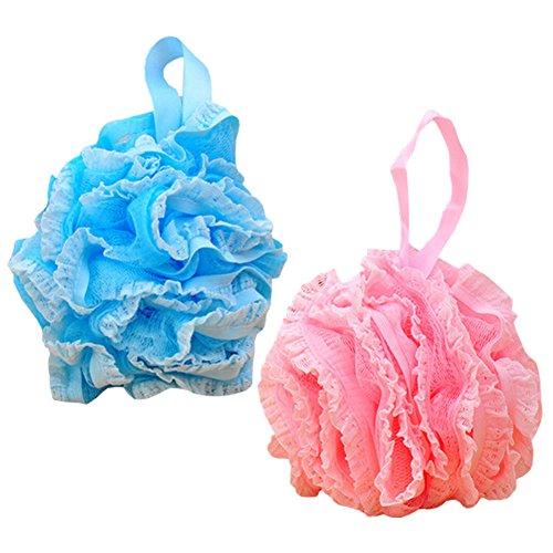Épaississement laveur bain mousseux Mesh Bath Sponge Ceinture Bleu+Rose