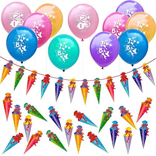 Oblique Unique® Schuleinführung Schulanfang Einschulung Deko Set für Jungs und Mädchen - 10 Luftballons + Zuckertüten Girlande + Zuckertüte Konfetti Set