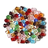 Ceshumd 200pcs 4mm Perles Toupies en verre cristal à facettes Perles de verre Perles pour bijoux DIY Collier Bracelet Artisanat (4MM)