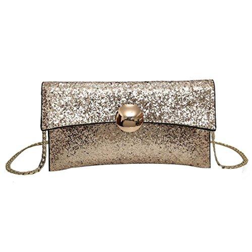 Damenmode Pailletten Umhängetasche Gurt Tasche Messenger Bag Gold