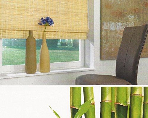Bambus Raffrollo mit 7,5mm Stäben Bambusrollo – Breite 60 bis 120 cm – Länge 160 cm – Natur Seitenzugrollo Sichtschutz Fenster Tür Rollo Vorhang Holzrollo Faltrollo