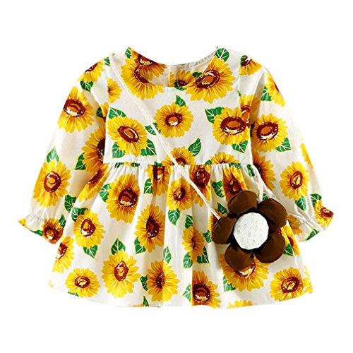 Preisvergleich Produktbild JYJM Nettes Kleinkind Blumenbaby Mädchen volles Hülsen Druck Gallus Kleid (4-10 Monate, Gold)