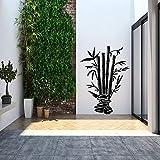wandaufkleber feuerwehr wandaufkleber blumen grün dekoratives Gras mit Kieselsteinen und Bambuswandaufkleber für Wohnzimmer