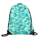 OQUYCZ Green Mermaid Scales Drawstring Backpack Rucksack Shoulder Bags Training Gym Sack for Man And Women