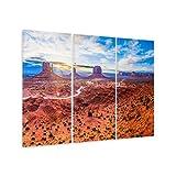 malango® Leinwandbild Arizona 3-teilig Landschaft Fotoleinwand handgeferigt Kunstdruck Felsen Steine Wanddekoration Canyon Bild Foto Leinwand