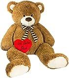 Brubaker Riesiger XXL Teddybär 150 cm groß Braun mit Einem 'Ich Liebe Dich' Plüschherz