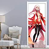 LHMTZ 3D Türaufkleber Anime Mädchen 88X200Cm Vinyltür Tapete Diy Tür Wandbild Selbstklebende Tür Poster Wohnzimmer Schlafzimmer Esszimmer Kinderzimmer Bar Tür Kunst Dekoration Schiebetür Aufkleber