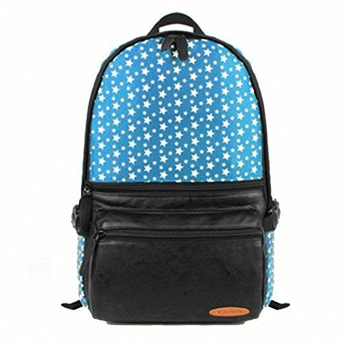 """Artone Stelle Pu Casual Zaino Grande Capacità Scuola Daypack Fit 15"""" Laptop Blu Blu"""