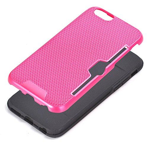 "MOONCASE iPhone 6 Plus/iPhone 6s Plus Coque, Dual Layer Hybrid Anti-rayures Protection Housse Card Slots Durable Armure Defender Étuis Case pour iPhone 6 Plus/6s Plus 5.5"" D'or Hotpink"