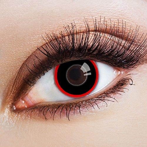 aricona Kontaktlinsen Farblinsen schwarze Kontaktlinsen rot zum Horror Halloween Kostüm ()