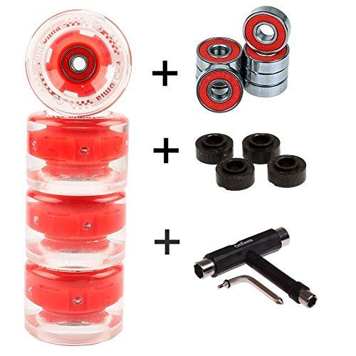 FunTomia 4 Stück (LED) Longboard/Skateboard/Mini-Board Rollen (Big Wheels) in 65x45mm 80A inkl. Mach1® Kugellager und Metall Spacer 80A Rollenhärte