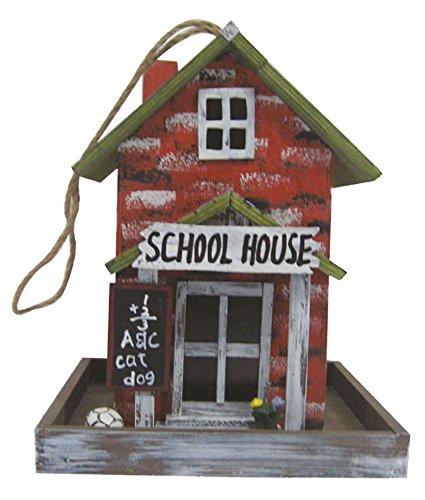Vogelhaus, Futterhaus für Vögel, Vogelfutterhaus, bunt bemalt (Motiv Schule)