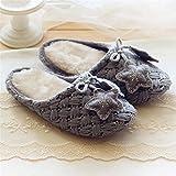 Pantoffeln?Damen HandmadeWoolen Strick Herbst und Winter Indoor Warm Home Schuhe Soft Floor Mute Home Hausschuhe , 36-37 , gray