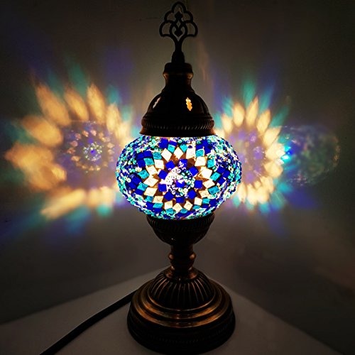 Handmade Turkish / Moroccan / Tiffany / Bohemian Style Glass Mosaic Desk Table Lamp Light 29 centimetres high