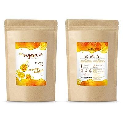 Detox Tee von Vigera - Orange Boost - perfekte Ergänzung zu deiner 14 Tage Detox Kur - Entschlackungstee/ Entgiftungstee - Hergestellt in Deutschland - 100g erfrischende Teemischung in Aromaschutzbeutel von Vigera bei Gewürze Shop