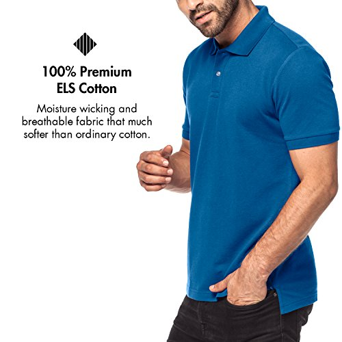 Lapasa Herren Poloshirt - 100% Premium els Baumwolle - Kurzarm Pique Polo Shirt Klassische Passform M019 Blau