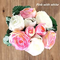 Bluelover Seta artificiale fiore di peonia Bouquet 9 capi fiori Home Cafe decorazione di cerimonia nuziale del partito Decor -Pink
