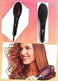 OBELLA Hair Straighteners, New Straightening Brush Hair Brush Hair Straightener Brush Electric Heating Ceramic Detangling Comb Digital Anion Hair Care, Anti-Scald Effective Silky Hair Brush (BLACK Hair Straighteners)