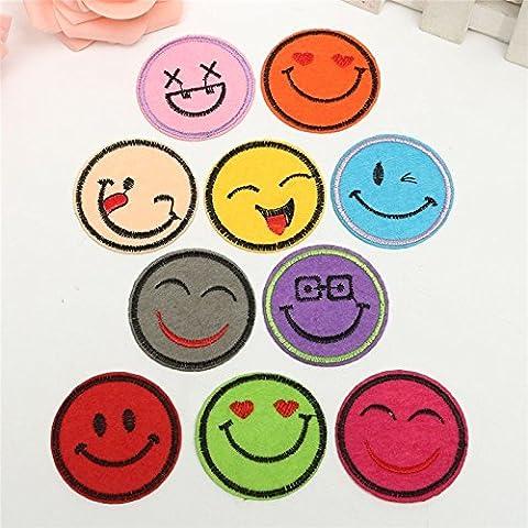 Ronda precioso bordado sonriente cara divisa del remiendo DIY de Ropa bordada apliques Decoraci—n