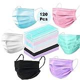 Mundschutz Maske Einwegmasken, JAHEMU 120 Stück Medizinische Gesichtsmaske Staubmaske mit 3-lagiger Atmungsaktiver Staubfilter, 6 Farben