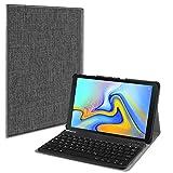 Fintie Bluetooth Tastatur Hülle für Samsung Galaxy Tab A 10.5 SM-T590/T595 Tablet-PC - Ultradünn leicht Schutzhülle mit magnetisch Abnehmbarer drahtloser Deutscher Bluetooth Tastatur, Stoff dunkelgrau