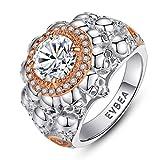 EVBEA Anillos Mujer Plata de Ley 925 Calavera Grande Cristal Diamante Oro Rosa Compromiso Boda Bisuteria Joyería Regalos Originales para Mujer Novia Amigas