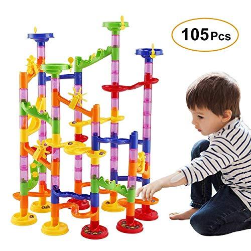 Marmor Run Spielzeug, Marmor Rennbahn Bau Eisenbahn Bausteine Spielzeug für Jungen Mädchen 4 5 6 7 8 + Jahre alt, 105 Stück DIY Bahnbau Building Block Race Run Spielzeug Geschenk für Kinder