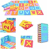 Costway 36 PCS Foam Alphabet Children Kids Soft Jigsaw Puzzle Play Floor Mat Learning Numbers