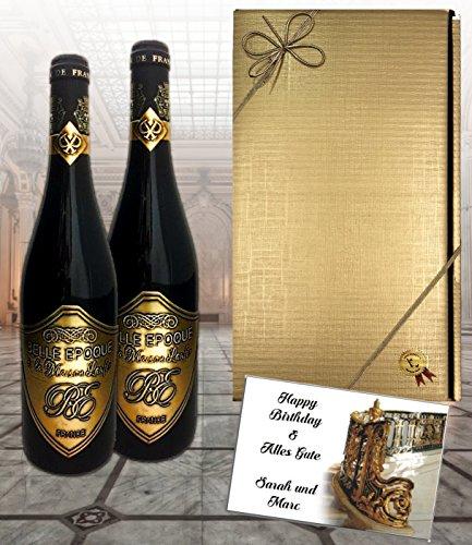 2er Rotwein-Set Belle Epoque á la Maison Laufèr | Luxus Geschenk für Bordeaux-Liebhaber| im Eichenholzfass gereift | für verwöhnte Weinkenner | Weihnachten | Geschenkset Italien Frankreich 2 Rotwein
