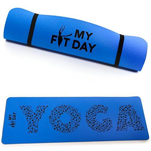 Tapis de yoga premium My Fit Day | Fait en TPE | Taille XL 183x61x0,5cm | Non toxique | Ultra-résistant | Léger | Optimisé pour la pratique du yoga | Anti-dérapant | Non toxique | Sangle d'attache et de transport | Satisfait ou remboursé