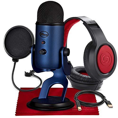 Blue Yeti USB-Mikrofon (Mitternachtsblau) mit Studio-Kopfhörern und Popfilter-Zubehör-Set