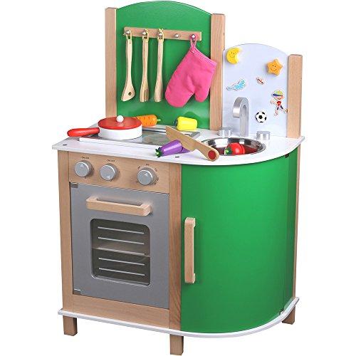 Preisvergleich Produktbild Große Holz Kinderküche grün, 52cm Arbeitshöhe, Klickgeräusche, Magnetboard: Spielküche Holzküche Holz-Spielzeug Kinder Küche