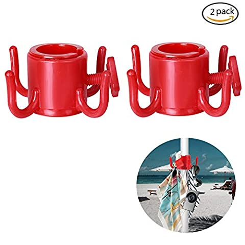 Tagvo Beach Umbrella Hanging Hook, 4-prongs Plastic Umbrella Hook Hanging for Towels /Hats /Clothes /Camera /Sunglasses /Bags--Durable, Fit for Beach,Camping Trips (2