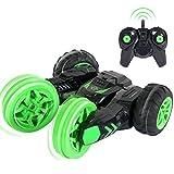 SGILE Drahtlose Fernbedienung 360 ° Stunt-Auto mit LED Geschenk für Kinder Aufstehen ferngesteuert Fahrzeuge (Grün)