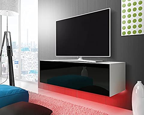 Tv meuble Lana (blanc mat/noir brillant)/140 cm/LED rouge