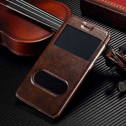 iPhone 6 / 6S (4.7 inch) Coque, SHANGRUN PU Cuir Housse Coque Fenêtre d'ouverture Case Flip Cas de Protection Portable Skin View Window Etui Cover pour iPhone 6 / 6S (4.7 inch) Or Marron