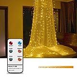 Lampes à rideau LED avec télécommande RF, ABEDOE 3x3M 300 LEDs Cordon en fil d'argent avec pendentif en cristal et crochet, Support 8 Modèles / Minuterie / Gradation, Idéal pour Noël Décoration Décoration Décoration, Blanc chaud, fiche UE