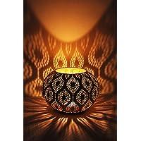 Orientalisches Windlicht Laterne orientalisch Afzal 14cm Groß Gold | Orientalische Vintage Teelichthalter Goldfarben innen und außen | Marokkanische Windlichter aus Metall als Ostern Dekoration