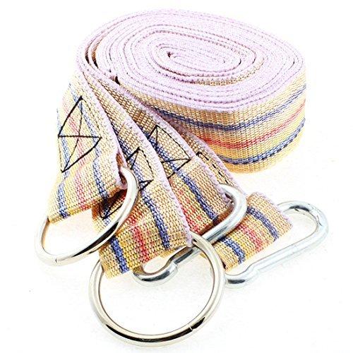 Dealmux Anneau en métal Crochet Mousqueton Hammock Strap Band 3.8 cm 2.5 m 2 pcs Jaune