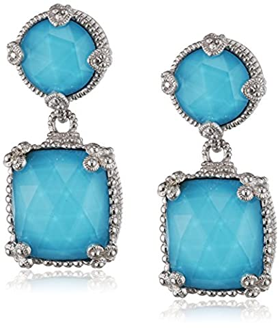 Judith Ripka Sterline Silver Double Ambrosia Earrings with Turquoise