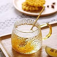 Tea and Coffee Cup Glass Mug, Used for Tea, Coffee, Green Tea, Herbal Tea, Lemon Tea Cup with Handle Golden 410 ml - Set…