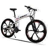 GPAN Pliable Vélo VTT,26 Pouces,Jantes d'une Seule Pièce,absorbeur de Choc,24 Vitesses,avec Frein à Disque Avant et arrière,White