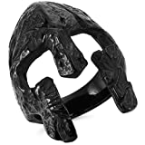 MunkiMix Acero Inoxidable Anillo Ring Máscara Mask Negro Talla Tamaño 35 Hombre