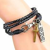 #9: Tinera Trends Jesus Cross Black 4R Leather Band Wrist Band