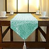 shinybeauty 30,5x 182,9cm Pailletten Dresser Schals oder Tischläufer mit Quaste, Polyester-Mischgewebe, mint, 12x72Inch