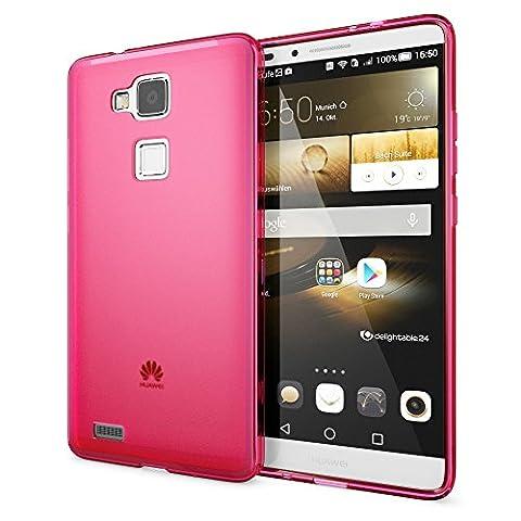 Huawei Ascend Mate 7 Coque Protection de NICA, Housse Silicone Portable Mince Souple, Tele-phone Case Cover Premium Incassable Ultra-Fine Resistante Gel Slim Bumper Etui - Mat Pink Rose